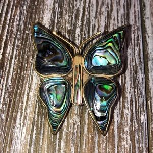 Vintage Silver & Abalone Shell Butterfly Pin